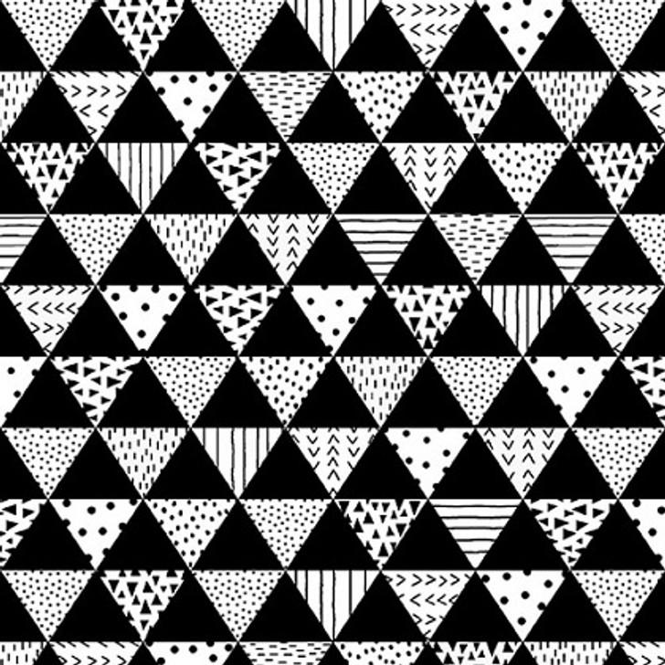 Studio E - Black & White w/Touch of Bright - Patterned Triangles, Blk & White