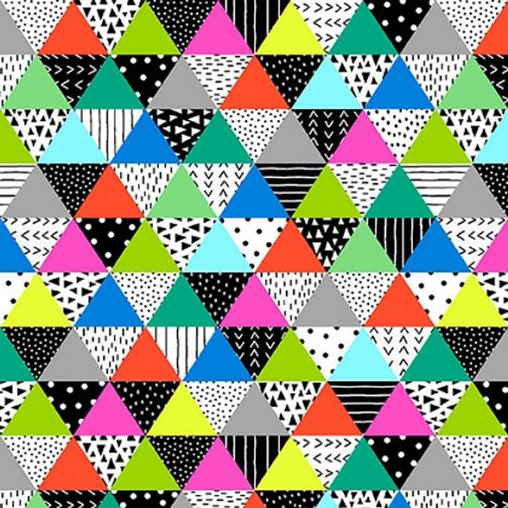 Studio E - Black & White w/Touch of Bright - Patterned Triangles, Multi