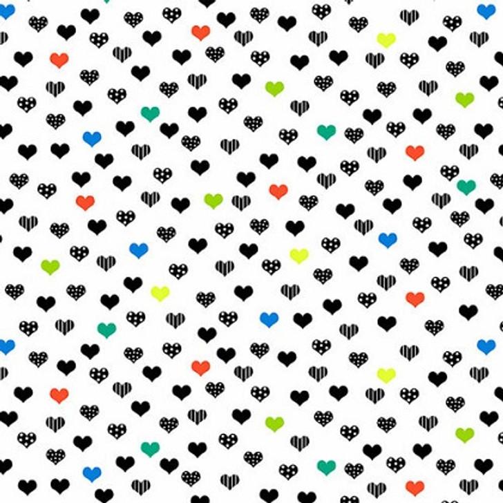 Studio E - Black & White w/Touch of Bright - Small Hearts, Multi/White