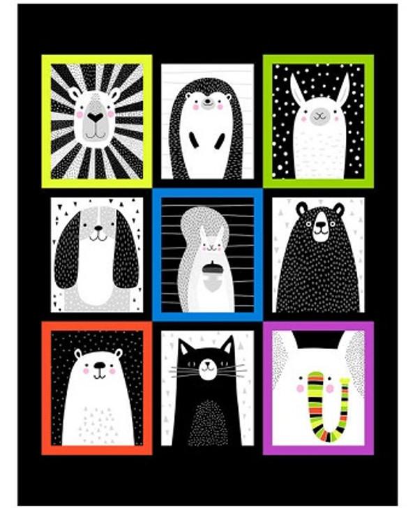 """Studio E - Black & White w/Touch of Bright - 36"""" Animal Panel, Multi/Black"""