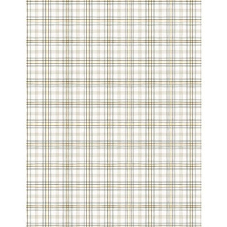 Wilmington Prints - Fields of Gold - Plaid, White/Gray