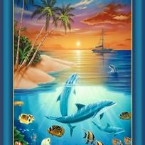 MAKE A SPLASH DOLPHINS WATER OCEAN FABRIC PANEL