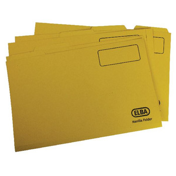 Elba Foolscap Yellow Midweight Tabbed Folder (Pack of 100) 100090237