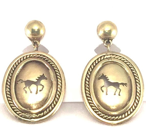 Gold Tone Oval Cut out Earrings