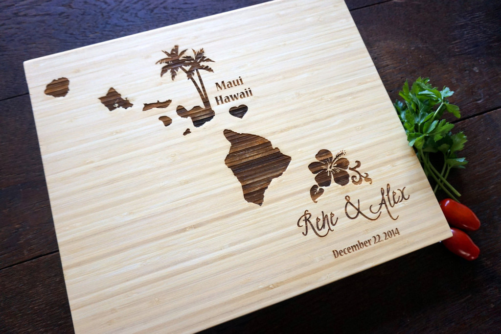 Hawaii wedding cutting board by TheCuttingBoardShop