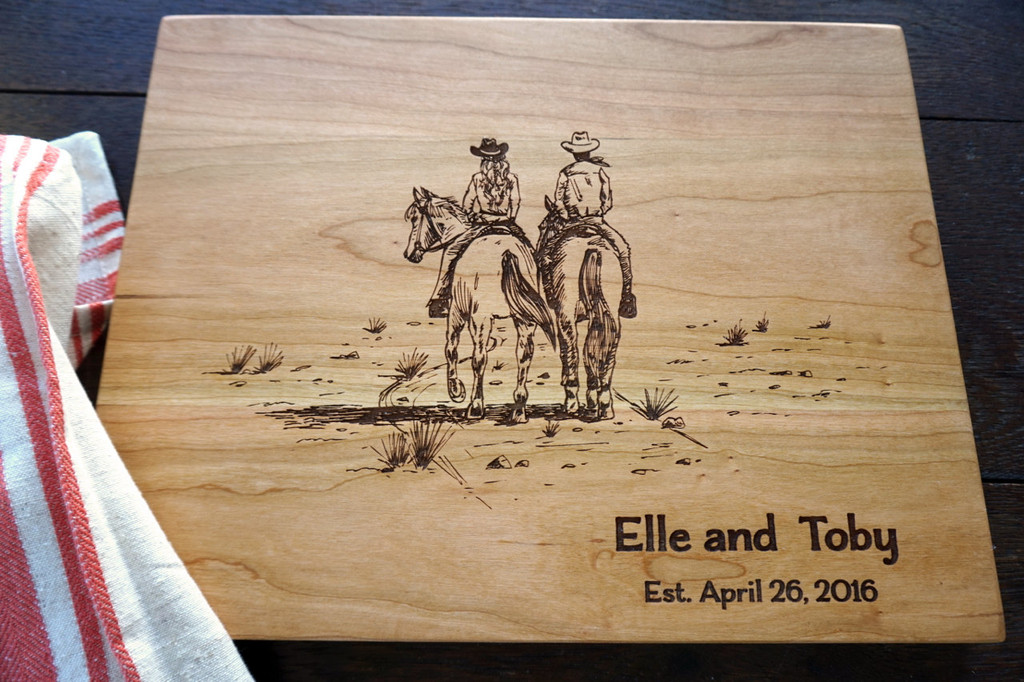 Couple Riding a horse cutting board by TheCuttingBoardShop