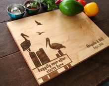 Wedding by the sea, pelicans engraved cutting board from TheCuttingBoardShop