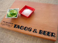 Tacos & Beer Beech Cutting Board