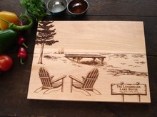 Adirondack chairs by a lake cutting board by TheCuttingBoardShop