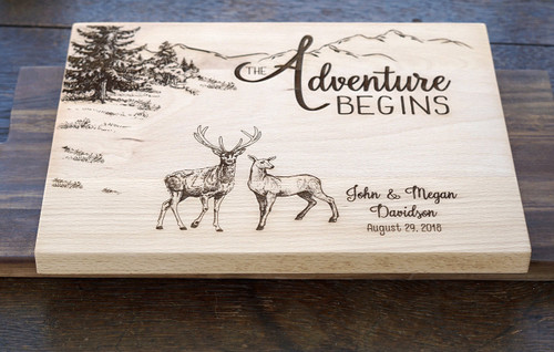 Adventure begins deer cutting board by TheCuttingBoardShop