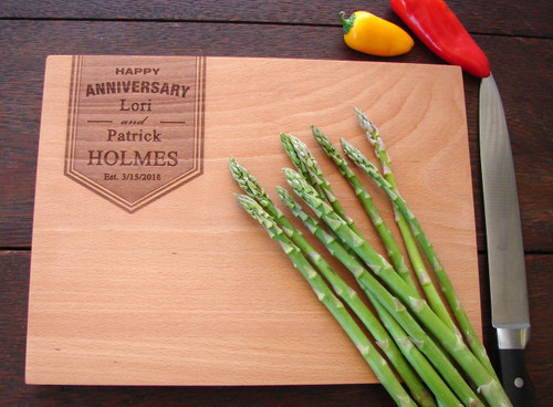 Personalized anniversary cheese board
