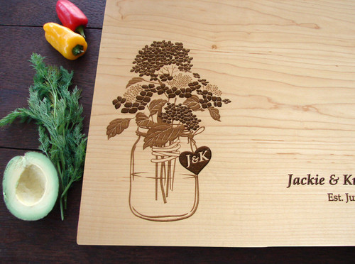 Hydrangea Mason jar cutting board by TheCuttingBoardShop