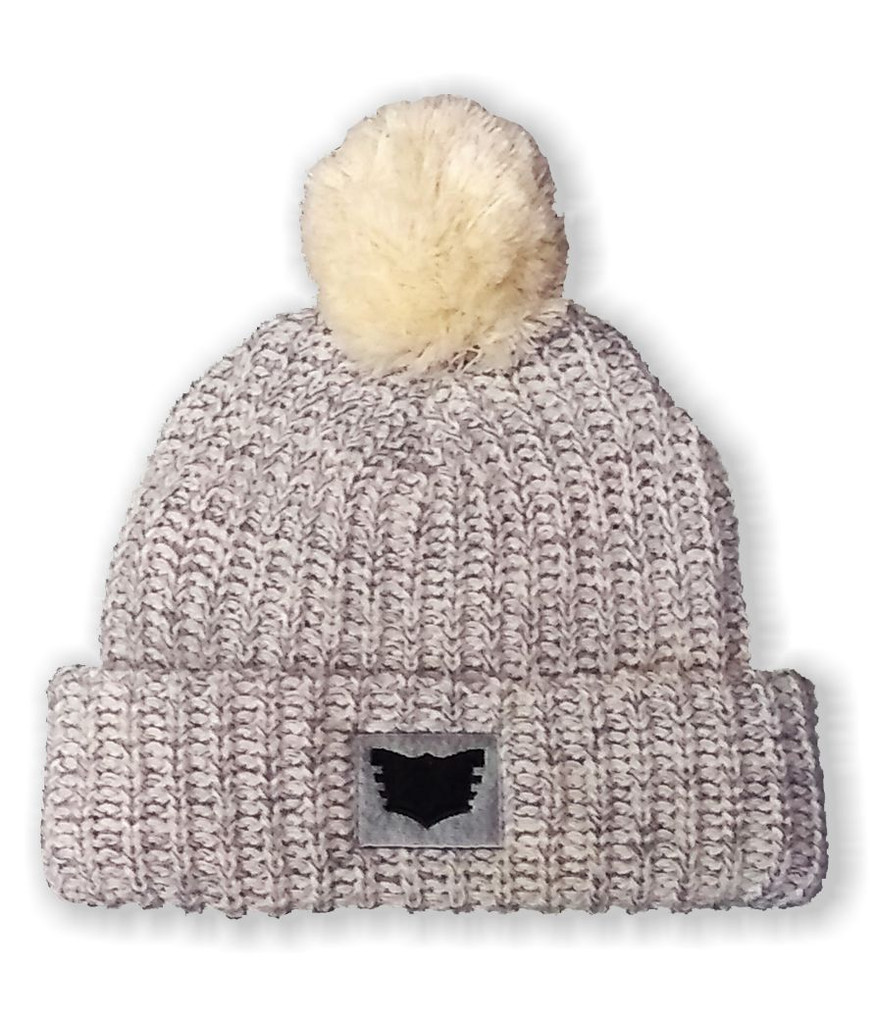 FLAIR Heather Gray Knit Pom Beanie with Embroidered Patch