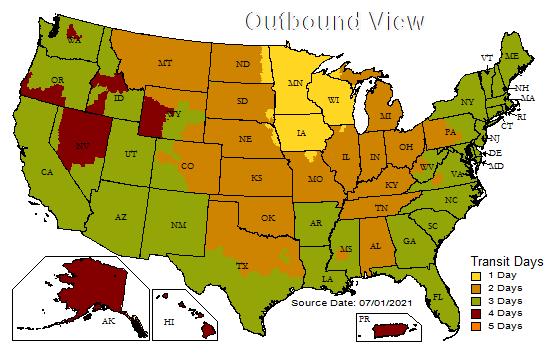 UPS Zones from Minnesota