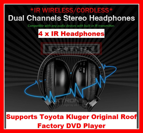 EXTNIX - 4 x Dual channel IR Wireless Cordless headphones for Toyota Kluger