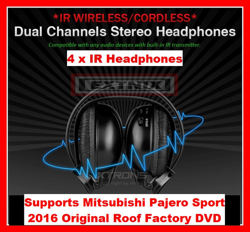 EXTNIX - 4 x Dual channel IR Wireless Cordless headphones for Mitsubishi Pajero Sport