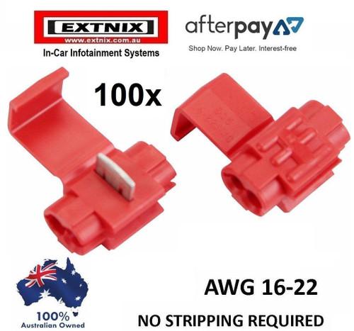 EXTNIX 100 X RED AWG 18 - 22  WIRE CONNECTOR SCOTCH LOCK QUICK SPLICE TERMINAL ELECTRICAL AUTOMOTIVE