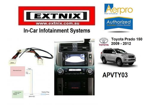 Aerpro APVTY03 Toyota Prado 150 Series 2009 - 2013 OEM Factory Reverse Camera Video Retention