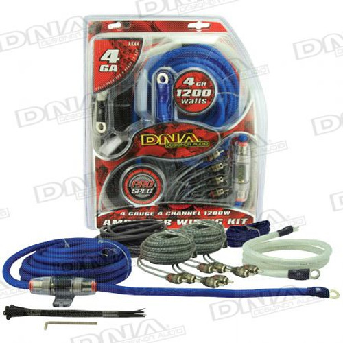 DNA - 4 Gauge 4 Channel 1200W Amplifier Kit - AK44