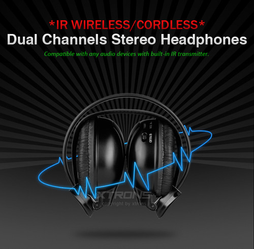2 x Dual channel IR Wireless/Cordless headphones for Nissan Pathfinder