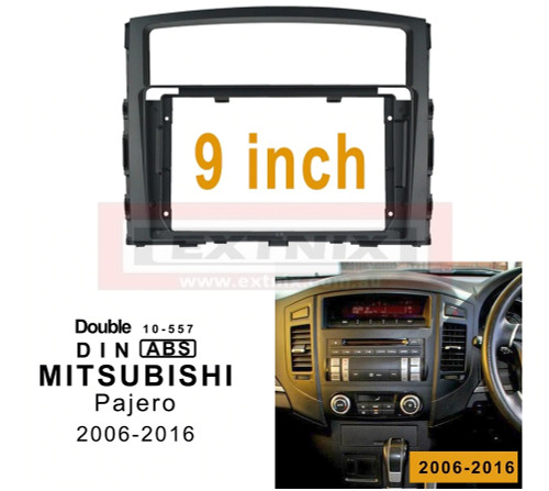 EXTNIX - 9 inch 2din car radio Fascia For MITSUBISHI Pajero 2006-2016 Panel in-dash Fascias Double Din DVD frame Dashboard Installation