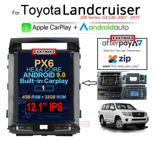 "EXTNIX Toyota Landcruiser 200 Series Tesla Style 12.1"" Infotainment System with built-in Apple CarPlay Android Auto LC200"