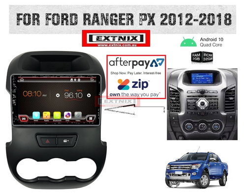 """EXTNIX Ford Ranger PX 2012 - 2015  HD 9"""" Touch Screen IPS 2.5D Android 10 Bluetooth GPS USB Infotainment SYSTEM With Reverse Camera"""
