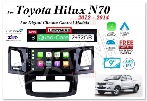 EXTNIX Apple CarPlay Android Auto Toyota Hilux 2012 to 2014 N70 Infotainment System Upgrade