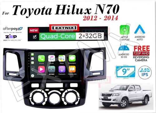 EXTNIX Apple CarPlay Android Auto Toyota Hilux 2012 to 2015 N70 Infotainment System Upgrade Manual Aircon Controls