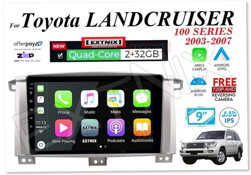 "EXTNIX Toyota Landcruiser 100 Series 03-07 Apple CarPlay Android Auto 9"" Infotainment System LC100"