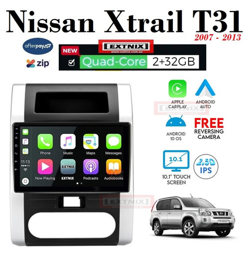 EXTNIX Apple Carplay Android Auto Nissan Xtrail T31 2007 - 2011 Android 10 GPS Bluetooth USB Car Player Infotainment System