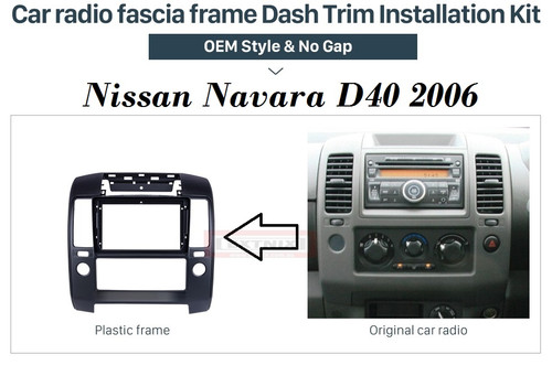 EXTNIX  Fascia Black Frame for 9 inch 2006-2012 Nissan NAVARA D40 Dash Mount Kit Trim Panel