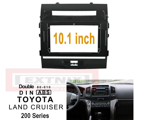 """EXTNIX TOYOTA LAND CRUISER LC200 GXL VX GX Fascia Frame for 10.1"""" Android Systems Matte Black"""