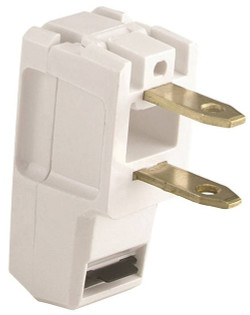 Academy Super Plug 2600-6W-L Non-Grounded Straight Electrical Plug, 125 V, 15 A, 2 P, 2 W, White