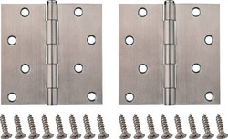 ProSource Door Hinge, 4 In L X 4 In W Door Leaf, 8 Holes, 2.2 Mm Thick Leaf, Stainless Steel