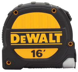 DeWALT DWHT33924 Tape Measure, 16 ft L Blade, 1-1/4 in W Blade, Polyester Blade, ABS Case, Black/Yellow Case