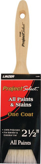 Project Select Flat Sash Varnish Brush, 2-1/2 in, Chiseled Polyester, Brass, Natural Wood Handle