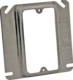 Raco 8768 Mud-Ring Raised Square Electrical Box Cover, 4 in L x 4 in W x 5/8 in T, Gray, Steel