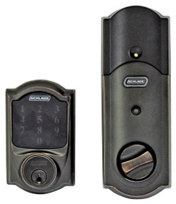Schlage BE469NX CAM 716 Touchscreen Electronic Deadbolt, 1 Grade, Aged Bronze