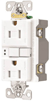 Eaton Wiring Devices SGF15W-3 Duplex GFCI Receptacle, 15 A, 2-Pole, 5-15R, White