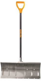 TRUE TEMPER 1640000 Snow Pusher, 11 in L x 24 in W Blade, Wood Handle
