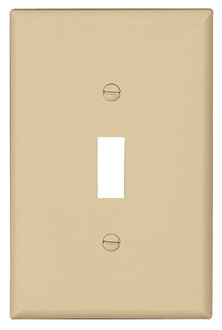 Eaton Wiring Devices PJ1V-CP-L Mid-Size Wallplate, 1-Gang, Polycarbonate, Ivory