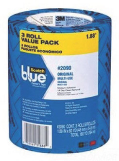 ScotchBlue 2090-48EVP Painter's Tape, 60 yd L, 1.88 in W, Crepe Paper Backing, Blue, 3, Roll