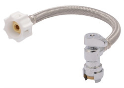 RELIANCE WORLDWIDE 24656Z Toilet Connector, Flexible, 1/2 in Inlet, 7/8 in Outlet, Stainless Steel Tubing, 12 in L