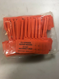 """CLI Leakage Repair Needed"" Security Lock out Tags bag of 100"