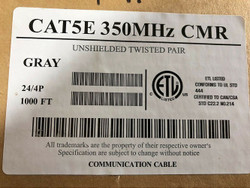 1000ft Cat5e PERFECT VISION CABLE CAT 5E UTP 350Mhz 24 AWG SOLID, 4 PAIR-GRAY