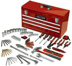 118-Pcs. 24 in. 3-Drawer Steel Tool Chest With Bonus High Quality Hand Tool Set