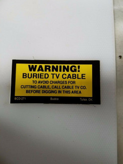 BUDCO WARNING BURIED TV CABLE STICKERS (SOLD IN PACK OF 250)