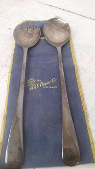 H & S Pogue Co Silver Plated Salad Serving Spoon and Fork Set