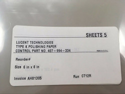 Lucent Technologies 3M Type K Polishing Paper (5)